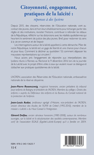 4eme Citoyenneté, engagement, pratiques de la laïcité :