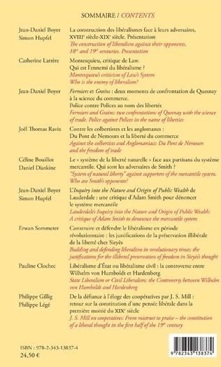 4eme Construction des libéralismes face à leurs adversaires, XVIIIe et XIXe siècles