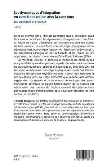 4eme Les dynamiques d'intégration en zone franc en lien avec la zone euro Tome I