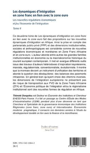 4eme Les dynamiques d'intégration en zone franc en lien avec la zone euro Tome II