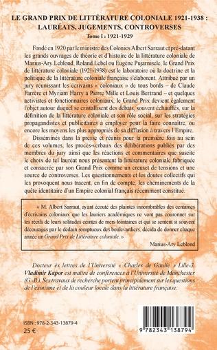 4eme Le Grand Prix de littérature coloniale 1921-1938 :