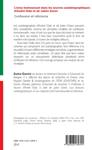 4eme L'aveu homosexuel dans les oeuvres autobiographiques d'André Gide et de Julien Green