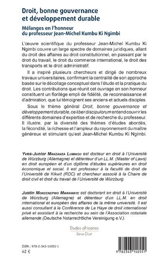 4eme Droit, bonne gouvernance et développement durable