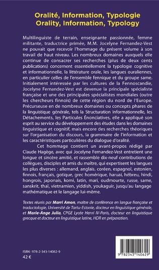 4eme Oralité, Information, Typologie
