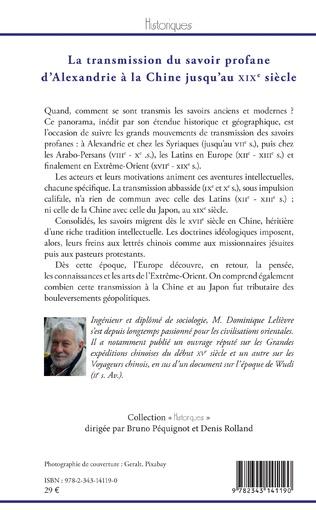 4eme La transmission du savoir profane d'Alexandrie à la Chine jusqu'au XIXe siècle