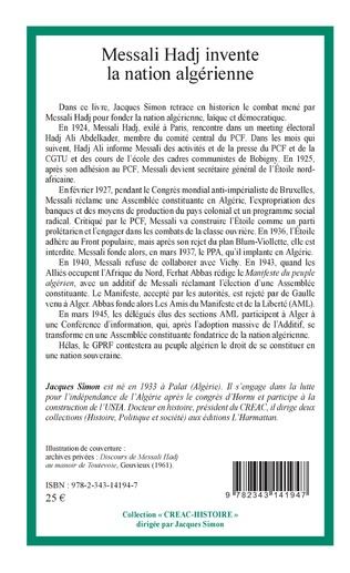 4eme Messali Hadj invente la nation algérienne