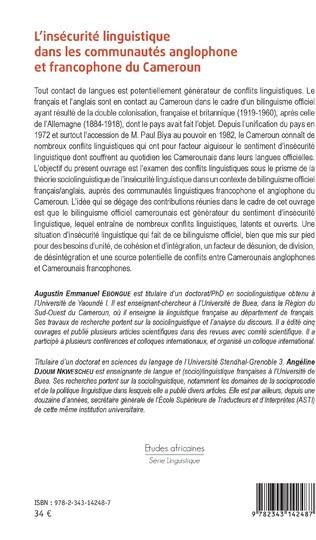 4eme L'insécurité linguistique dans les communautés anglophone et francophone du Cameroun