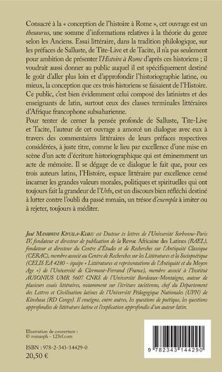 4eme La conception de l'histoire à Rome chez Salluste, Tite-Live et Tacite