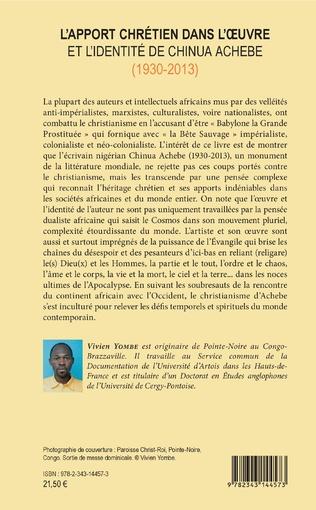 4eme L'apport chrétien dans l'oeuvre et l'identité de Chinua Achebe (1930-2013)