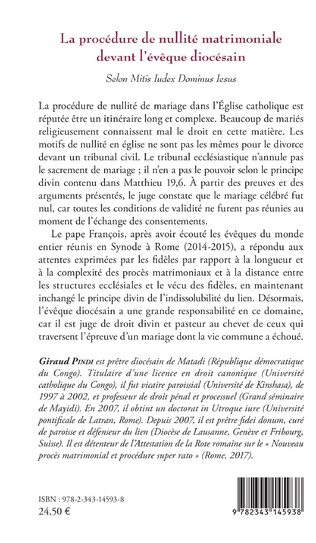 4eme La procédure de nullité matrimoniale devant l'évêque diocésain