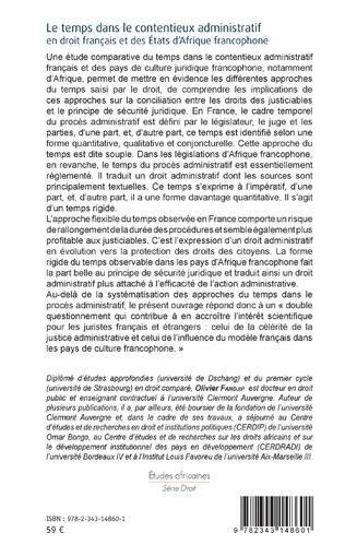 4eme Le temps dans le contentieux administratif en droit français et des Etats d'Afrique francophone