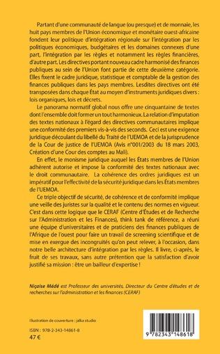 4eme Constitutions et documents financiers Vol 1 Espace UMOA/UEMOA