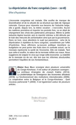 4eme La dépréciation du franc congolais (2001-2018)