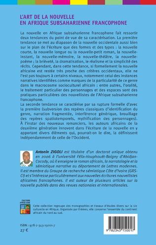 4eme L'art de la nouvelle en Afrique subsaharienne francophone