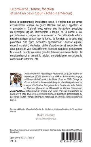 4eme Le proverbe : forme, fonction et sens en pays tupuri (Tchad-Cameroun)