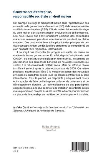 4eme Gouvernance d'entreprise, responsabilité sociétale en droit malien