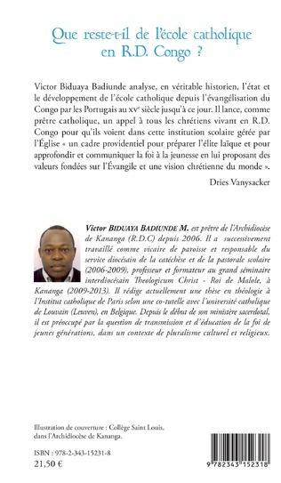 4eme Que reste-t-il de l'école catholique en RD Congo ?
