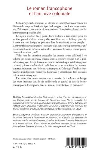 4eme Le roman francophone et l'archive coloniale
