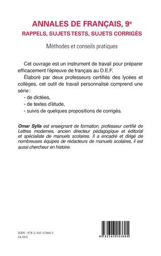 4eme Annales de Français 9e