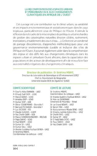 4eme La recomposition des espaces urbain et périurbain face aux changements climatiques en Afrique de l'Ouest