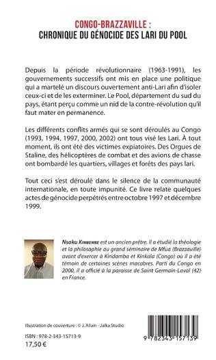 4eme Congo-Brazzaville : chronique du génocide des Lari du Pool