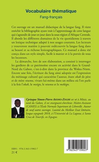 4eme Vocabulaire thématique Fang-français