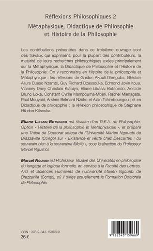 4eme Réflexions philosophiques 2 Métaphysique, Didactique de Philosophie et Histoire de la Philosophie