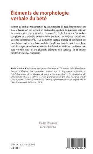 4eme Eléments de morphologie verbale du bété