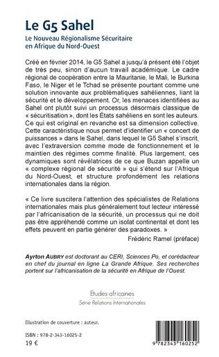 4eme Le G5 Sahel. Le Nouveau Régionalisme Sécuritaire en Afrique du Nord-Ouest
