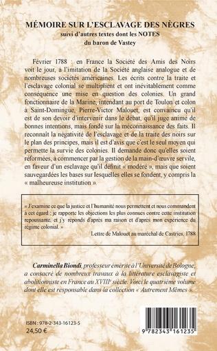 4eme Mémoire sur l'esclavage des nègres