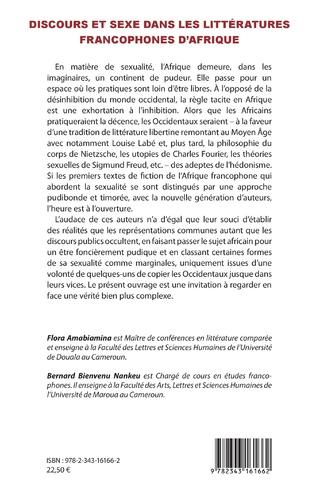4eme Discours et sexe dans les littératures francophones d'Afrique