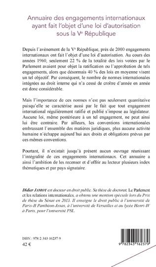 4eme Annuaire des engagements internationaux ayant fait l'objet d'une loi d'autorisation sous la Ve République
