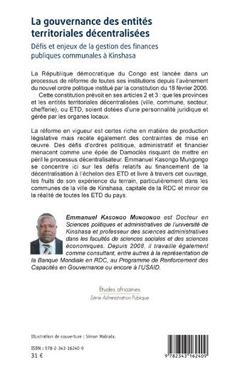 4eme La gouvernance des entités territoriales décentralisées