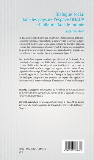 4eme Dialogue social dans les pays de l'espace OHADA et ailleurs dans le monde