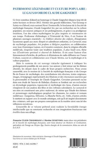 4eme Patrimoine légendaire et culture populaire : le gai savoir de Claude Gaignebet