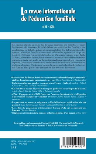 4eme Familles en contextes de vulnérabilités psychosociales : réalités des enfants, des parents et des services