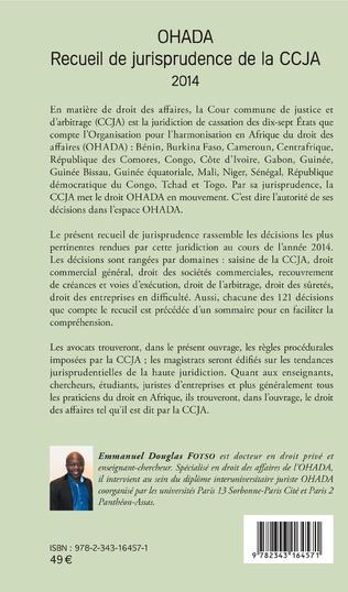 4eme OHADA Recueil de jurisprudence de la CCJA 2014