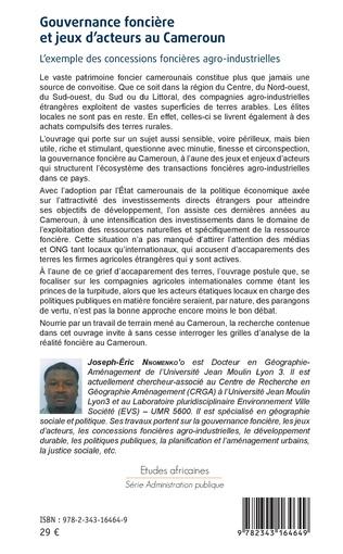 4eme Gouvernance foncière et jeux d'acteurs au Cameroun