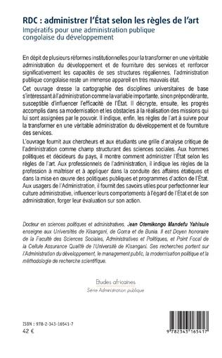 4eme RDC : administrer l'Etat selon les règles de l'art