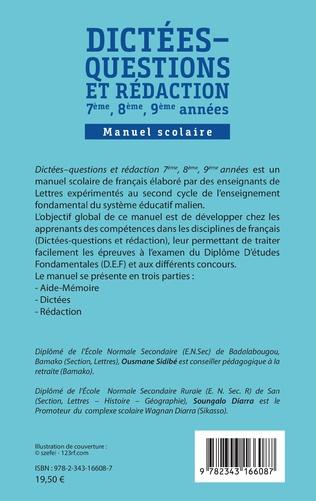 4eme Dictées - questions et rédaction 7ème, 8ème, 9ème années
