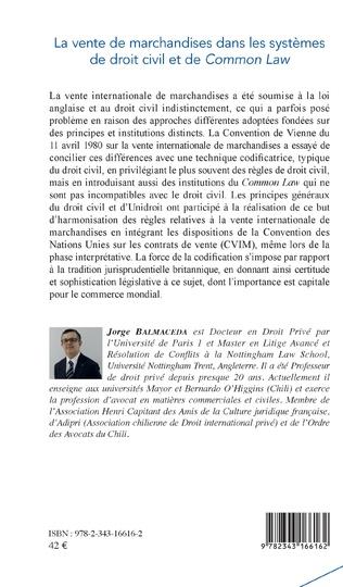 4eme La vente de marchandises dans les systèmes de droit civil et de common law