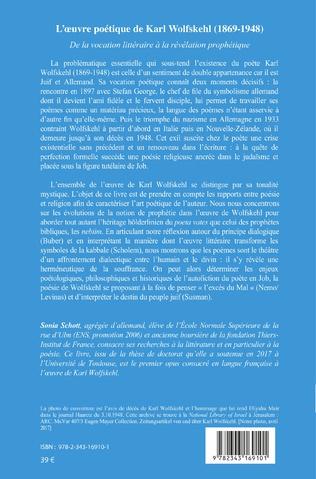 4eme L'Oeuvre poétique de Karl Wolfskehl (1869-1948)