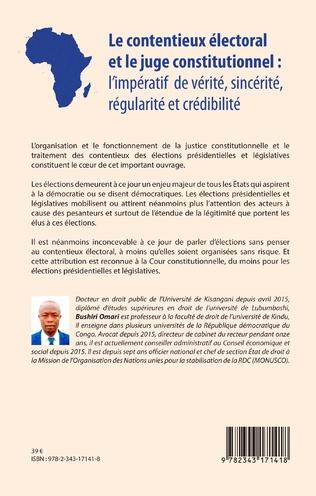 4eme Le contentieux électoral et le juge institutionnel : l'impératif de vérité, sincérité, régularité et crédibilité