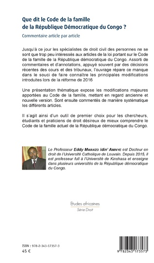4eme Que dit le Code de la famille de la République Démocratique du Congo ?