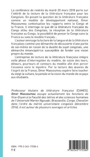 4eme Littérature française, un modèle de développement national pour la République du Congo ?