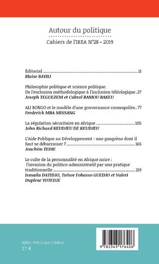 4eme Autour du politique (Cahiers de l'IREA 28)