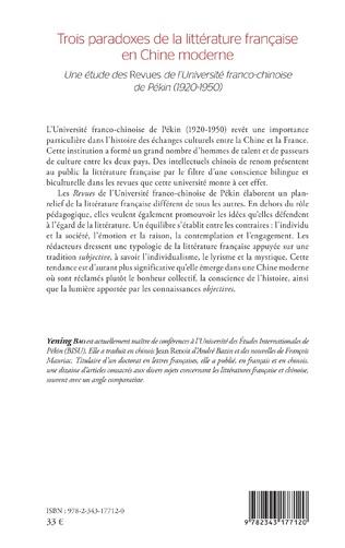4eme Trois paradoxes de la littérature française en Chine moderne