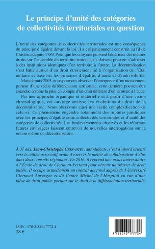 4eme Le principe d'unité des catégories de collectivités territoriales en question