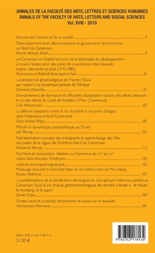 4eme Annales de la faculté des arts, lettres et sciences humaines Vol XVIII - 2018
