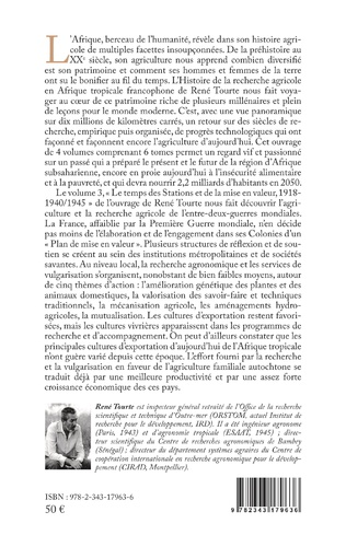 4eme Histoire de la recherche agricole en Afrique tropicale francophone et de son agriculture de la Préhistoire au Temps modernes Volume III